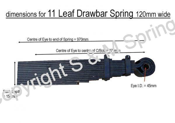 Agricultural Drawbar Spring 11 Leaf 120mm wide dimensions
