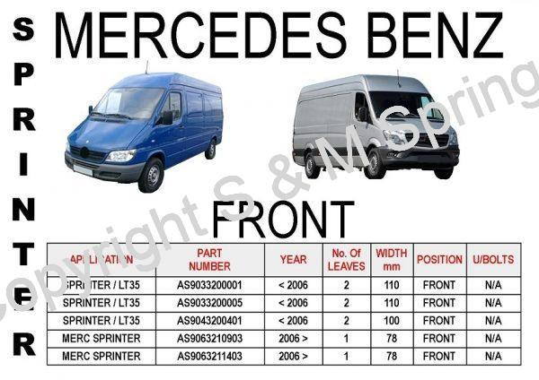 MERCEDES Sprinter Front Leaf Springs