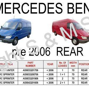 MERCEDES Sprinter pre 2006 Rear Leaf Springs