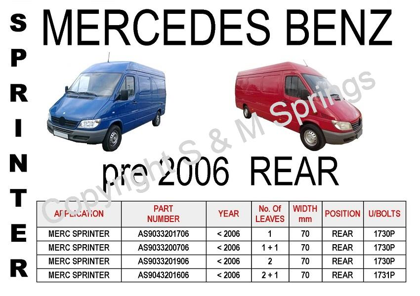 Mercedes Sprinter Rear Leaf-Springs (pre 2006)