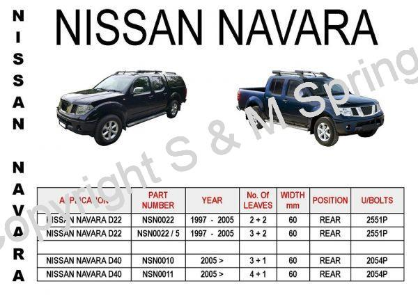 NISSAN Navara D22 D40 Leaf Springs Rear