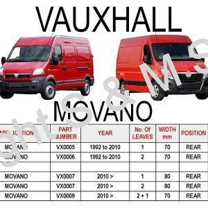 Vauxhall Movano Leaf Springs Rear
