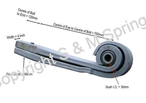 142854-3 ERF Rear Spring 2 Leaf dimensions