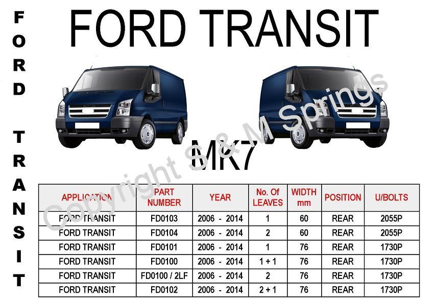 Ford Transit MK7 Leaf Springs