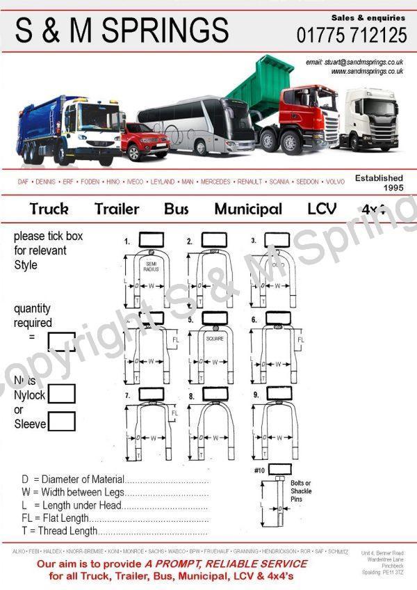 U Bolts for Municipal Bus HGV Truck Trailer LCV 4x4
