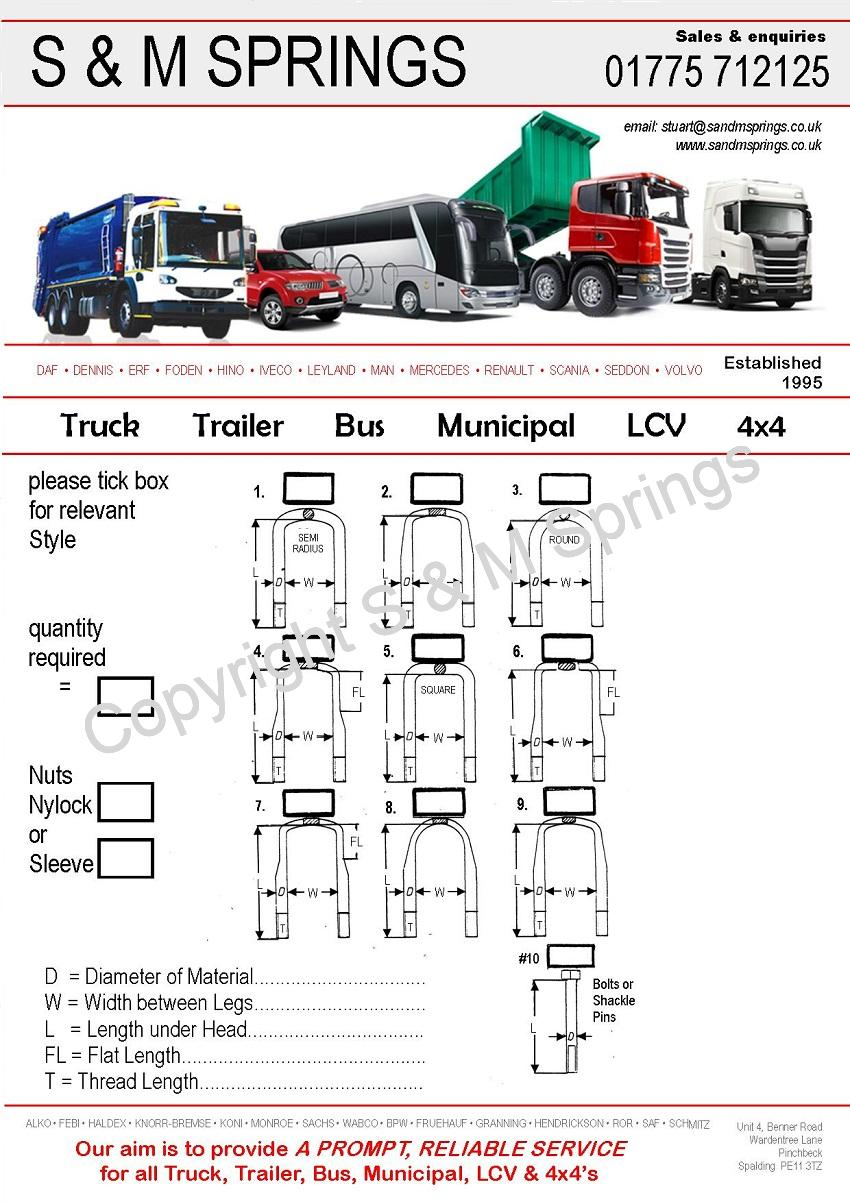 U-Bolts for all Municipal HGV Truck Bus Trailer LCV & 4×4's