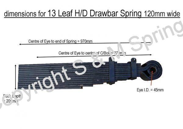 Agricultural Drawbar Spring 13 Leaf HD 120mm wide dimensions
